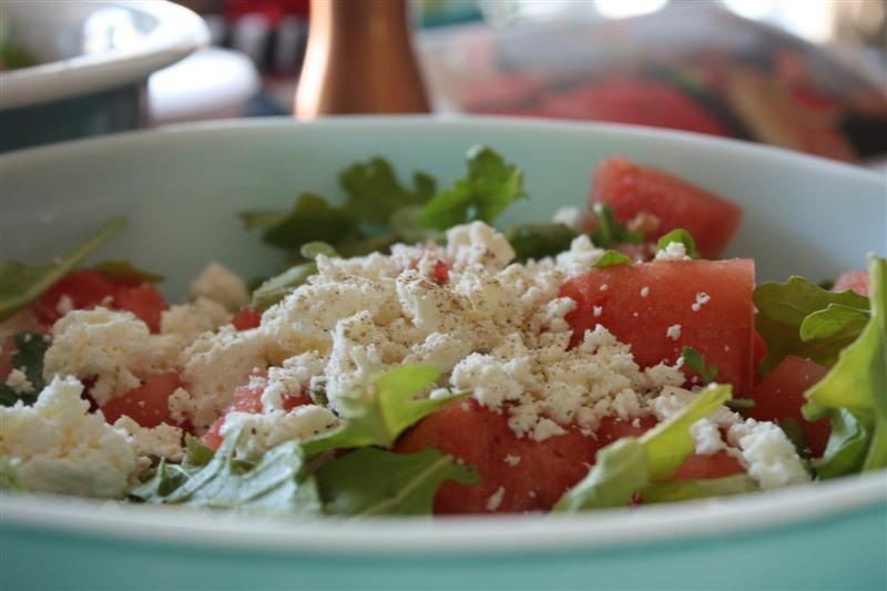 Watermelon, Feta, Arugula and Shrimp Salad