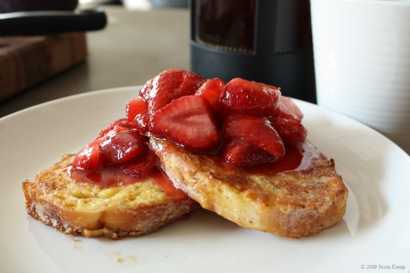 French Toast with Strawberries in Syrup