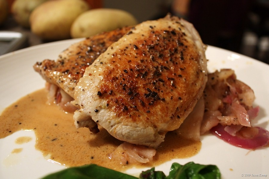 Pork Chops in Apple Cream Sauce with Caramelized Apples and Onions