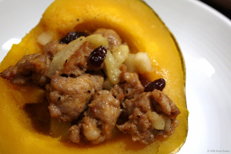 Baked Acorn Squash Stuffed with Sausage, Apples and Pears
