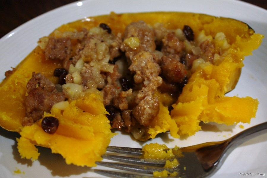 One mistake I made, which I corrected in the recipe, was to not season the squash before stuffing it. Made the squash somewhat bland.