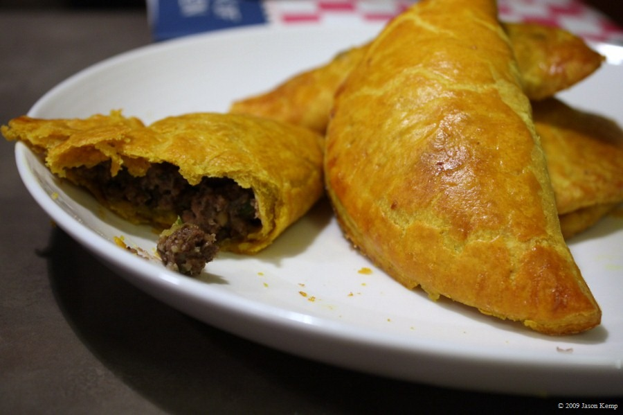 Crisp, flaky dough; spicy meat filling. A great treat.