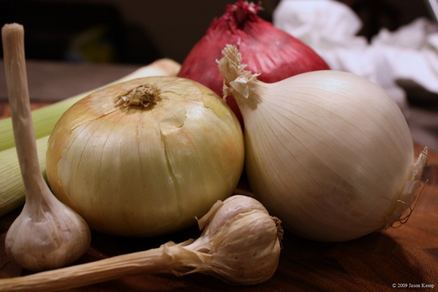 Use the entire Allium family if you want (onions, leeks, garlic, shallots...)