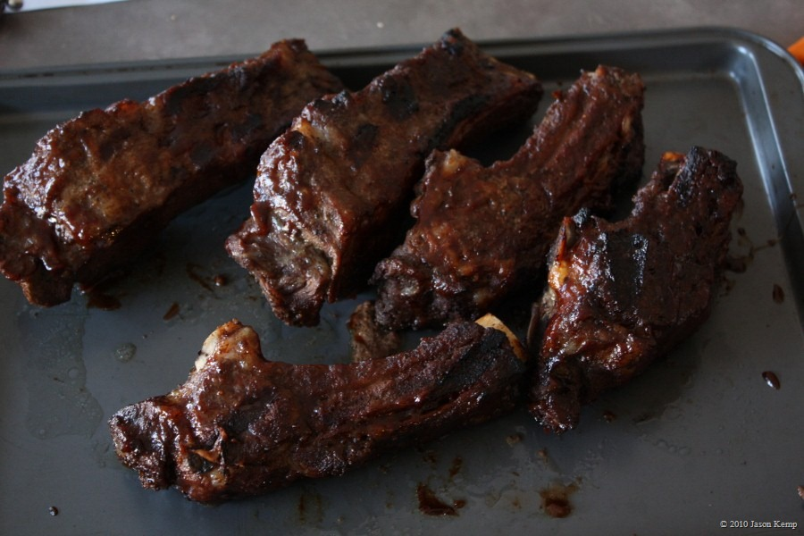 Beef ribs: braised on indirect in a foil-wrapped, disposable cake tin, then direct for 10 minutes, flipping once.