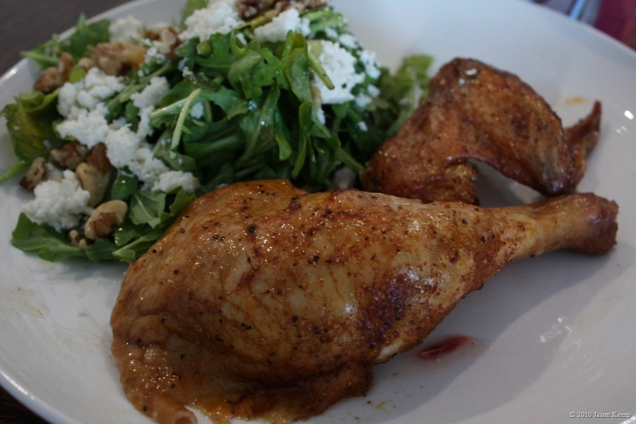 Chicken goes great with salad