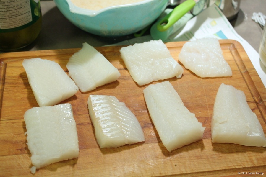 Fish pieces, no bigger than a deck of cards. Get them out of the fridge and their wrapper to dry.