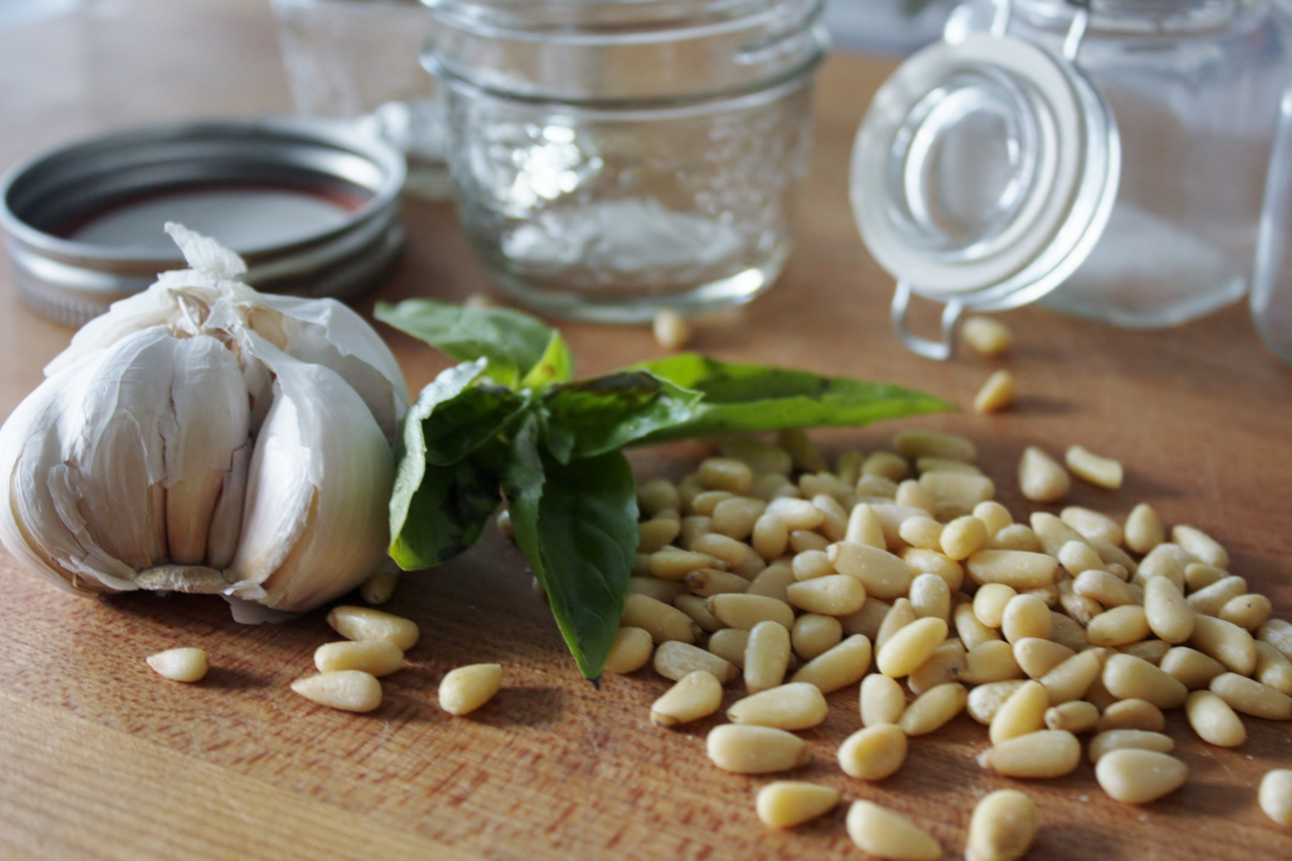 Garlic, basil and pine nuts